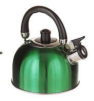 Чайник зі свистком подвійне дно, 2,5 л. А-Плюс зелений