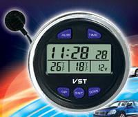 Часы автомобильные VST 7042V, Часы термометр вольтметр для автомобиля, Авто часы на ВАЗ 2106, 2107, фото 1