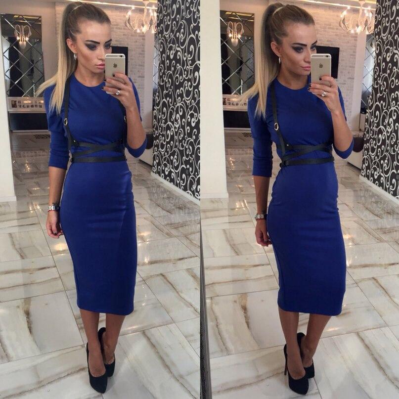 Женское трикотажное платье-футляр миди с портупеей, 6 цветов 42, синее