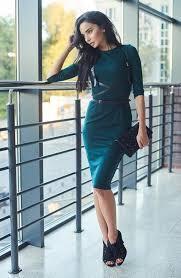 Женское трикотажное платье-футляр миди с портупеей, 6 цветов 40, Изумрудное