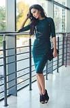 Трикотажне жіноче плаття-футляр міді з портупеєю, 6 кольорів 44, Смарагдове, фото 2
