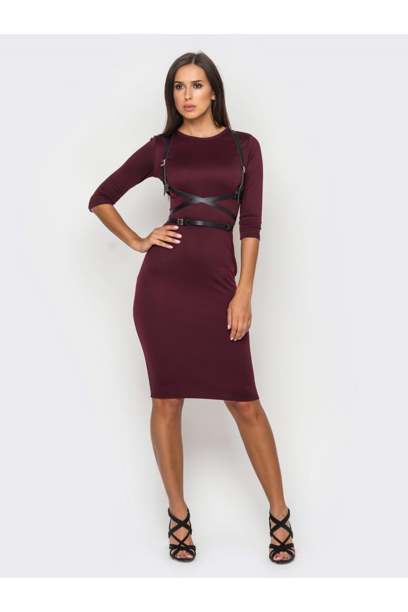 Женское трикотажное платье-футляр миди с портупеей, 6 цветов 46, Сливовое