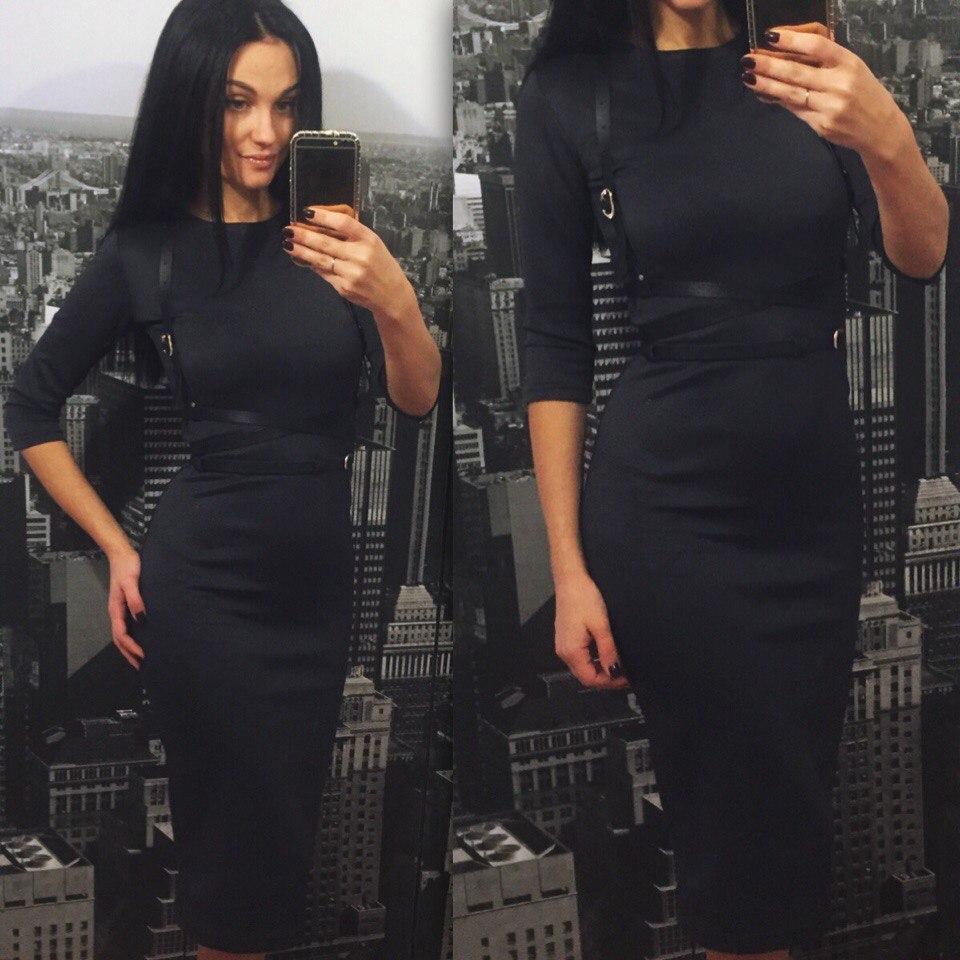 Трикотажне жіноче плаття-футляр міді з портупеєю, 6 кольорів, (48-50) Чорний, 50