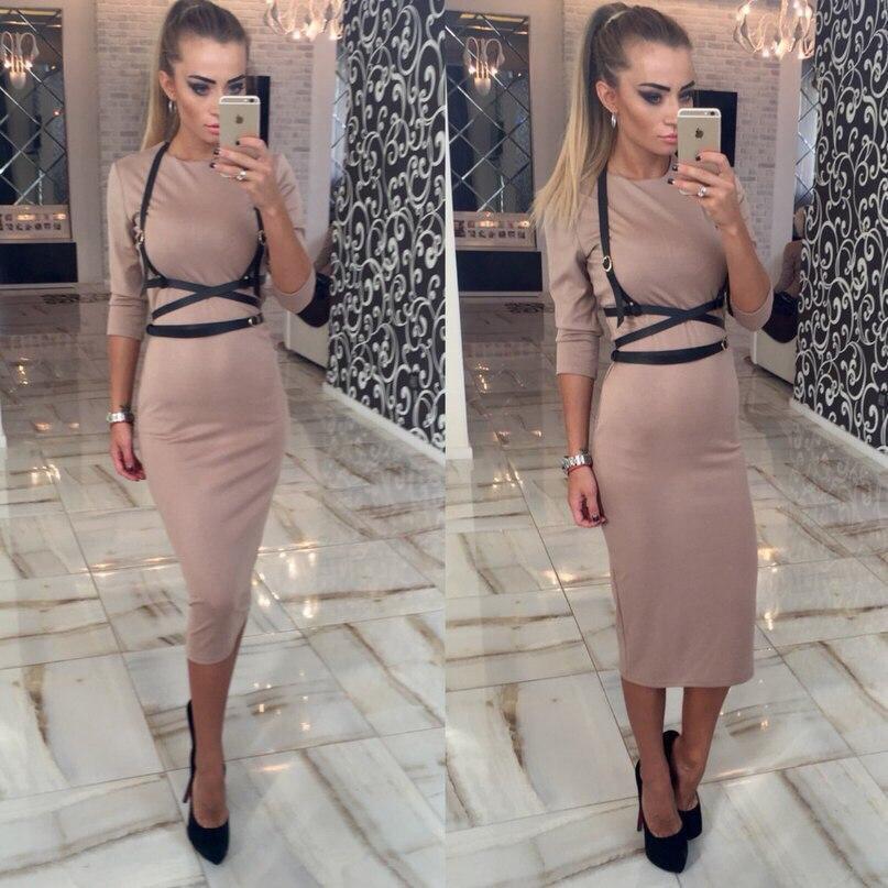 Женское трикотажное платье футляр по колено, длинные рукава,обтягивающее + портупея. Бежевое. 48, 50
