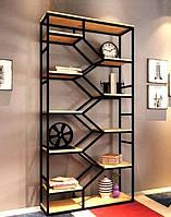 Стеллаж книжный для дома в стиле лофт Zigzag.