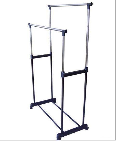 Стойка для одежды Double- Pole, Стойка для одежды напольная, Двойная телескопическая вешалка для одежды