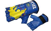 Снарядные перчатки (шингарты) обрезан. Кожа ZELART ZB-4224-B (р-р M-XL, манжет на резинке, синий)