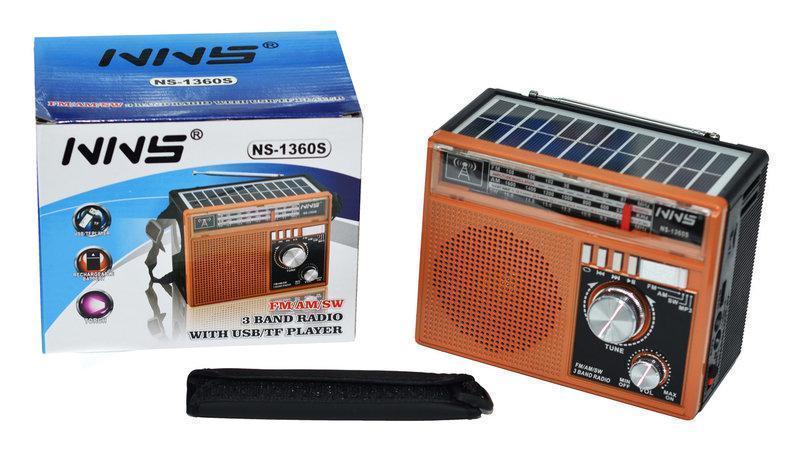 Радио  NS-1360S + SOLAR, Радиоприемник с солнечной панелью, Приемник с фонариком, Портативный радиоприемник