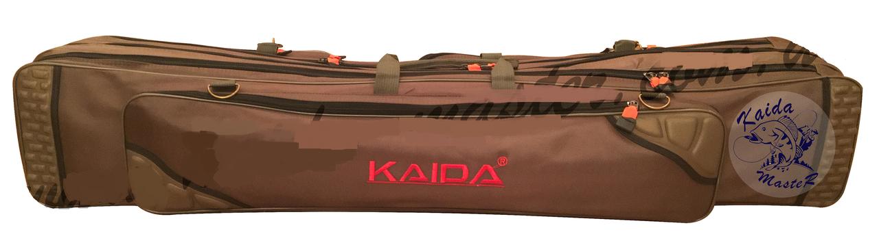 Чехол на три секции Kaida 1,3м, Рыбацкий чехол для спиннингов с катушками, Чехол рыболовный для удилищ