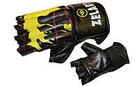 Снарядные перчатки (шингарты) обрезан. Кожа ZELART ZB-4224-BK (р-р M-XL, манжет на резинке, черный)