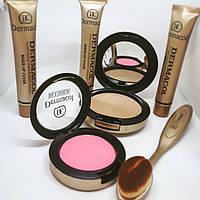Тональный крем Dermacol набор 6in1, Набор для макияжа с кистью, Маскирующий тональный крем с румянами