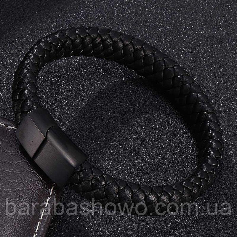 Мужской кожаный браслет. Черный. Магнитная застежка