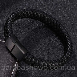 Чоловічий шкіряний браслет. Чорний. Магнітна застібка