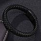 Мужской кожаный браслет. Черный. Магнитная застежка, фото 3
