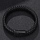 Мужской кожаный браслет. Черный. Магнитная застежка, фото 5