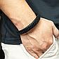 Мужской кожаный браслет. Черный. Магнитная застежка, фото 7