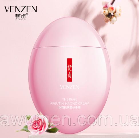 Омолаживающий крем для рук Venzen The Rose Arbutin Hand Cream 60 g (с маслом розы и арбутином)