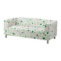 """IKEA """"КЛИППАН"""" диван двухместный Марехилл розовый/ зеленый"""