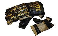 Снарядные перчатки (шингарты) обрезан. Кожа ZELART ZB-4226-BK (р-р M-XL, манжет на резинке, черный)