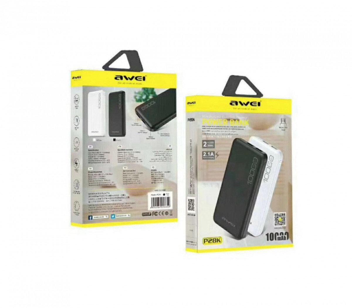 Мобильная Зарядка POWER BANK AWEI P28K, Павер банк, Портативное зарядное устройство, Переносной аккумулятор