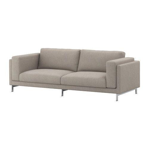 """IKEA """"НОКЕБИ"""" Диван-кровать трехместный, Тено светло-серый, хром"""