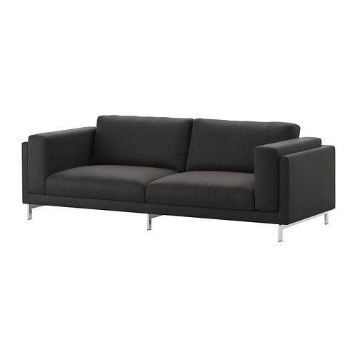 """IKEA """"НОКЕБИ"""" Диван-кровать трехместный, Тено темно-серый, хром"""