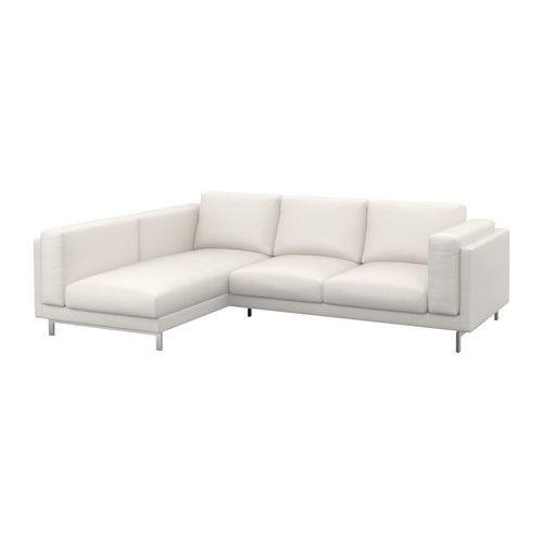 """IKEA """"НОКЕБИ"""" двухместный диван с козеткой, левосторонний, Рисане белый хром"""