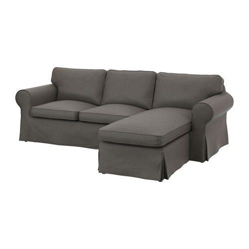 """IKEA """"ЭКТОРП"""" диван двухместный с козеткой,  Нордвалла серый"""