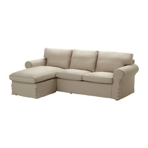"""IKEA """"ЭКТОРП"""" диван двухместный с козеткой,  Рисане бежевый натуральный"""