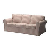 """IKEA """"ЭКТОРП"""" диван трехместный, Мобака бежевый/красный, фото 1"""