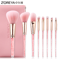 Набор кистей Zoreya Rose gold 8 штук (розовый чехол)