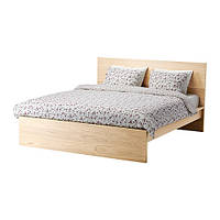 MALM Каркас кровати, высокий, дубовый шпон, беленый, Luroy 140x200