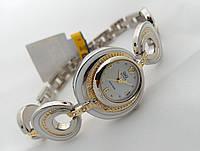 Женские часы Q@Q  цвет платина с золотом, кристаллы и эмаль