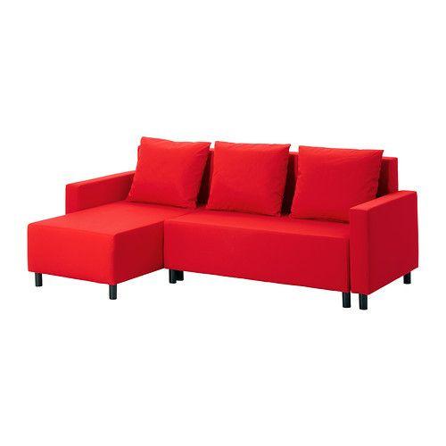 """IKEA """"ЛУГНВИК"""" Диван-кровать с козеткой, Гранон красный"""