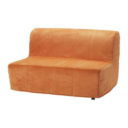 """IKEA """"ЛИКСЕЛЕ ЛЁВОС"""" Диван-кровать 2-местный, Хенон оранжевый"""