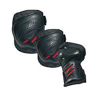 Захист ролик. ковз. Cool Max 3 пар., чёрно-красный, чёрный, серебряный, серебристо-оранжевый, серебристо-красный, S, M, L, XL, фото 1