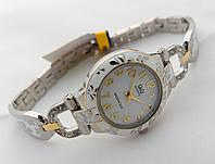Женские часы Q@Q  цвет платина с золотом, эмаль и кристаллы