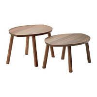 "IKEA ""СТОКГОЛЬМ"" Комплект столов, 2 шт, шпон грецкого ореха, фото 1"