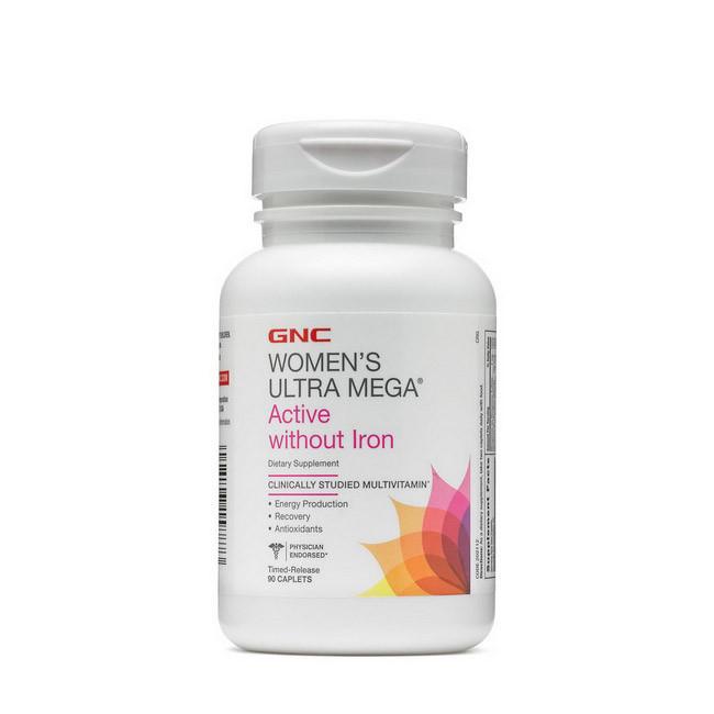 Витамины для женщин без железа  GNC Women`s Ultra Mega Active Without Iron 90 caplets