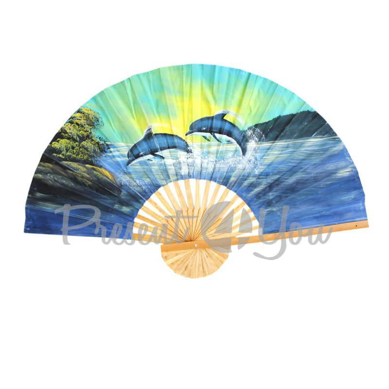 Веер декоративный «Дельфины», голубой (100х60 см) (034-3507)