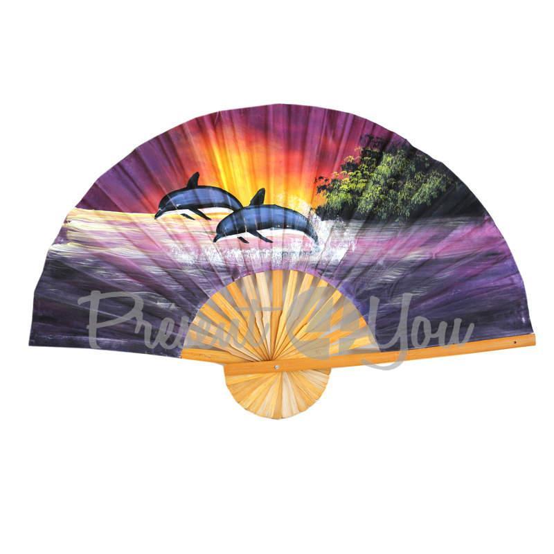 Веер декоративный «Дельфины», фиолетовый (100х60 см) (034-3505)