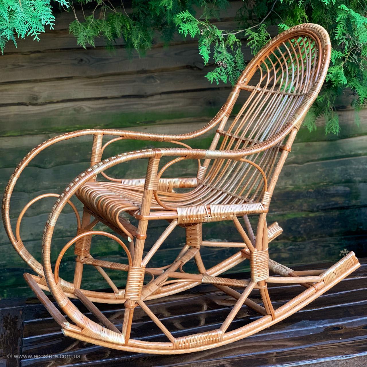 Кресло-качалка плетеное из лозы с подставкой для ног (бесплатная доставка)