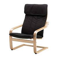 """IKEA """"ПОЭНГ"""" Кресло, березовый шпон, Ранста черный"""