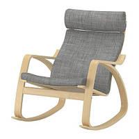 """IKEA """"ПОЭНГ"""" кресло-качалка, березовый шпон, Исунда серый"""