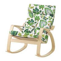 "IKEA ""ПОЭНГ"" кресло-качалка, березовый шпон, Симмарп зеленый"