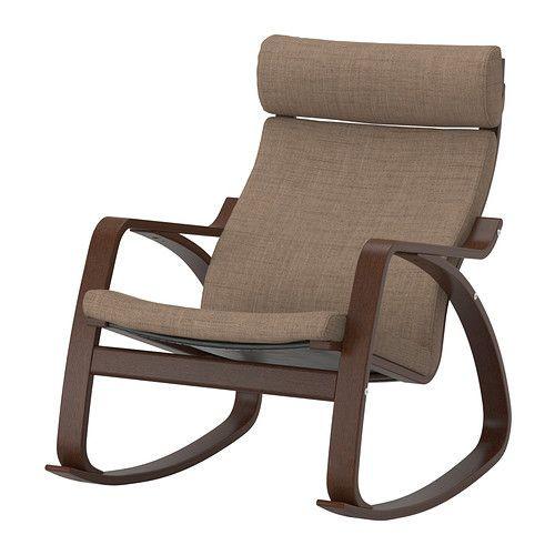 """IKEA """"ПОЭНГ"""" кресло-качалка, коричневый, Исунда коричневый"""