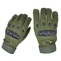 Перчатки тактические Оakley. Оливковые. Полнопалые, фото 1