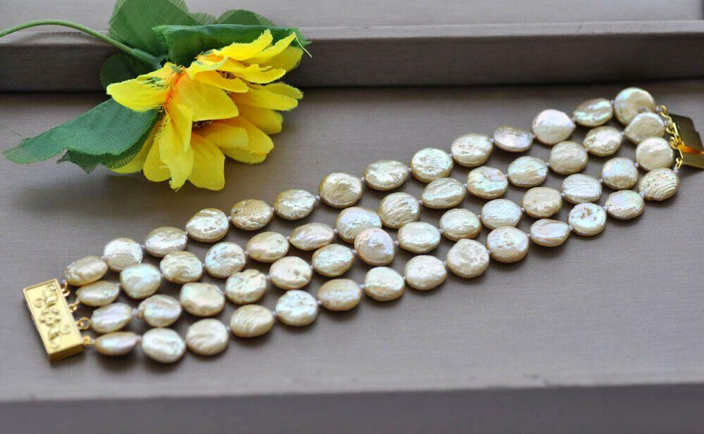 Браслет из речного Жемчуга Барокко (барочный жемчуг, жемчуг - монетки) золотистого (желтого, Шампань) цвета