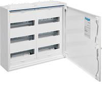 Щит Hager 500x550x161 наружный 72 модуля 3 ряда белые двери IP44 Univers FWB32S