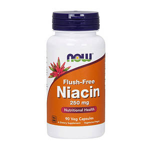 Витамин В3, Ниацин NOW Flush-Free Niacin 250 mg 90 vcaps